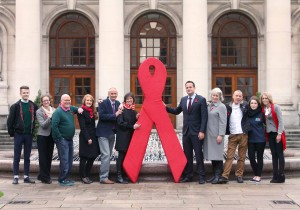 26/11/2015 Minister for Health, Leo Varadkar TD (5th from right), launches Ireland's first National World AIDS Day (WAD) Campaign developed by NGOs and statutory bodies across Ireland in partnership with the HSE Sexual Health and Crisis Pregnancy Programme #WADirl. Pictured with Minister Varadkar are, from left, Oisin McKenna, SpunOut.ie, Jacinta Whelan, Dochas, Mick Quinlan, HSE Gay Men's Health Service, Roisin Guiry, HSE Sexual Health and Crisis Pregnancy Programme, Niall Mulligan, HIV Ireland, Fiona Lyons, HSE Clinical Lead for Sexual Health, Lynn Caldwell, ACET, Jimmy Goulding, Positive Now, Aoife Ni Shuilleabhain, USI, and Hayley Mulligan, AIDSWest. Photo: Mark Stedman/Photocall Ireland