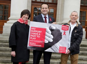 26/11/2015 Minister for Health, Leo Varadkar TD, launches Ireland's first National World AIDS Day (WAD) Campaign developed by NGOs and statutory bodies across Ireland in partnership with the HSE Sexual Health and Crisis Pregnancy Programme #WADirl. Pictured with Minister Varadkar are Fiona Lyons, HSE Clinical Lead for Sexual Health, and  Jimmy Goulding, Positive Now. Photo: Mark Stedman/Photocall Ireland